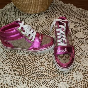 Coach pink sequin high top gymshoes sz 8